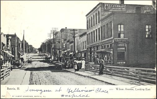 A view of the downtown Batavia around the turn of the 20th century