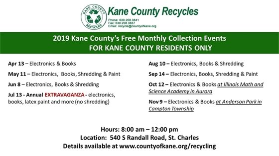 Kane County Recycling Events for 2019