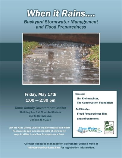 Backyard Stormwater Management & Flood Preparedness on Friday, 5/17 1-2:30 PM
