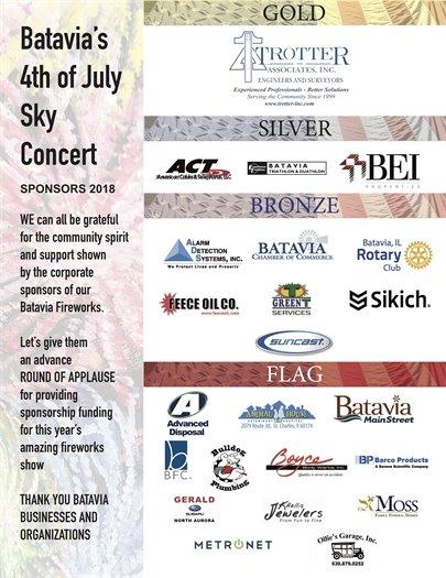 Batavia Fireworks sponsors