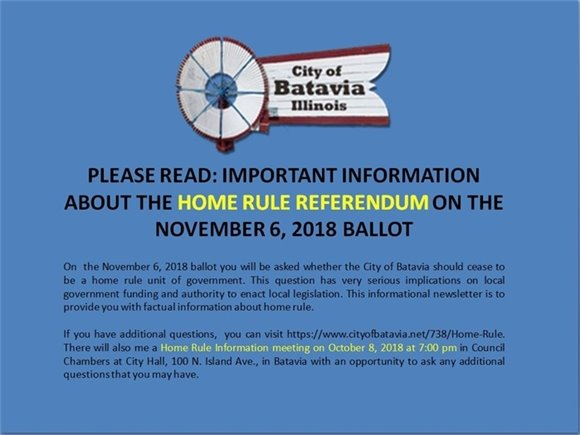 Cover of Home Rule Information Flier