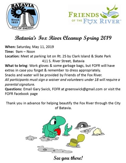 Fox River Cleanup event Saturday, May 11 at 9:00