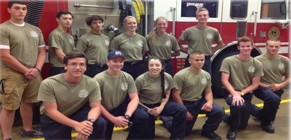 Explorer Group in Front of a Fire Truck