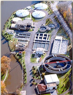 Overhead View of Wastewater Treatment Facility